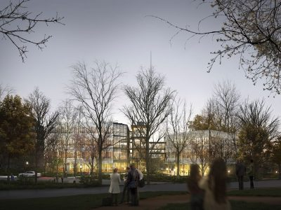 Architect's rendering with SNF Agora building at night, with glowing lights